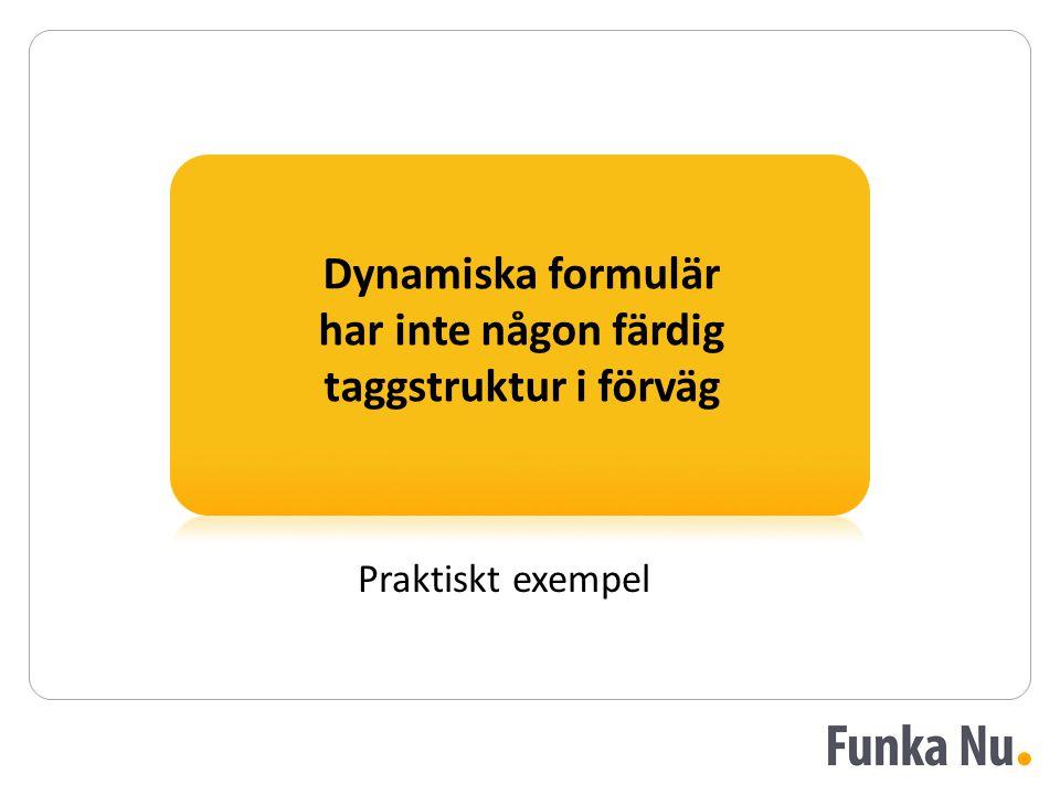 Dynamiska formulär har inte någon färdig taggstruktur i förväg Praktiskt exempel