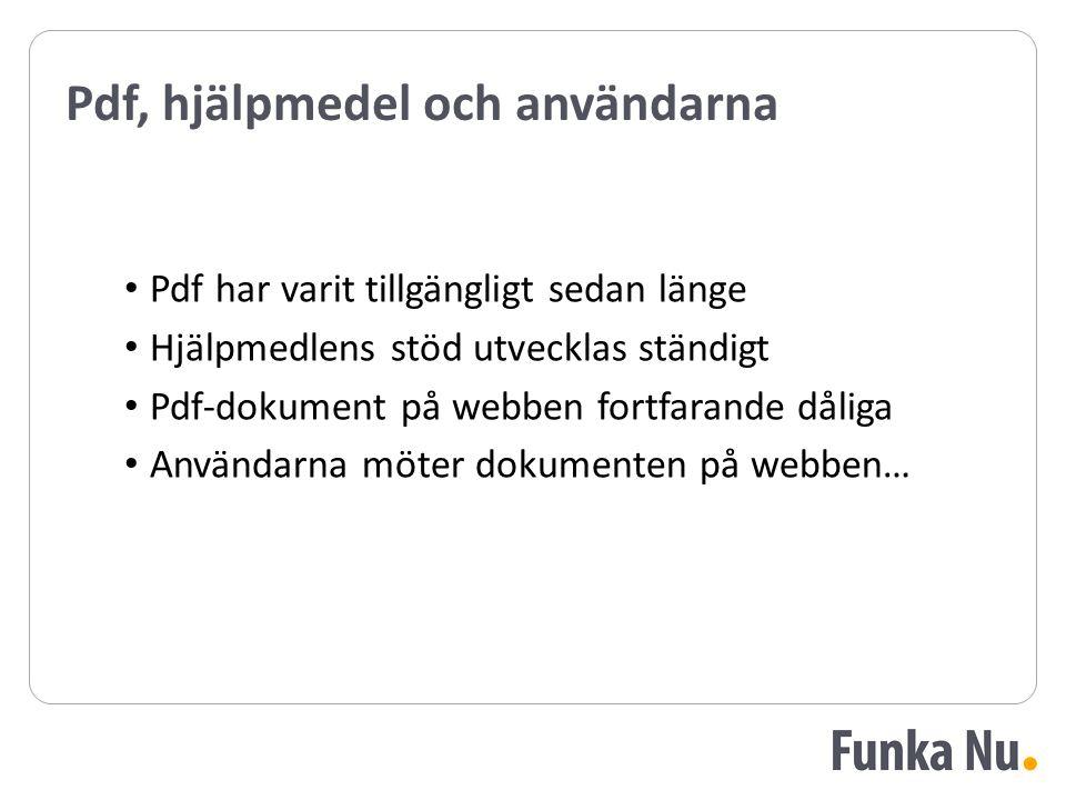 Pdf, hjälpmedel och användarna Pdf har varit tillgängligt sedan länge Hjälpmedlens stöd utvecklas ständigt Pdf-dokument på webben fortfarande dåliga Användarna möter dokumenten på webben… Pdf har varit tillgängligt sedan länge Hjälpmedlens stöd utvecklas ständigt Pdf-dokument på webben fortfarande dåliga Användarna möter dokumenten på webben…