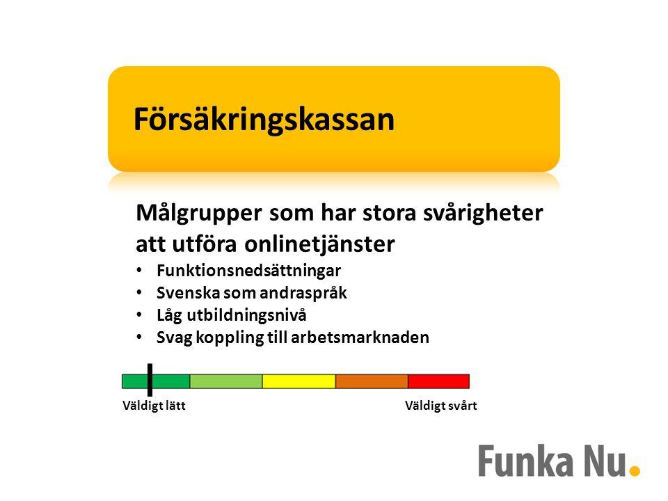 Målgrupper som har stora svårigheter att utföra onlinetjänster Funktionsnedsättningar Svenska som andraspråk Låg utbildningsnivå Svag koppling till arbetsmarknaden Väldigt lättVäldigt svårt