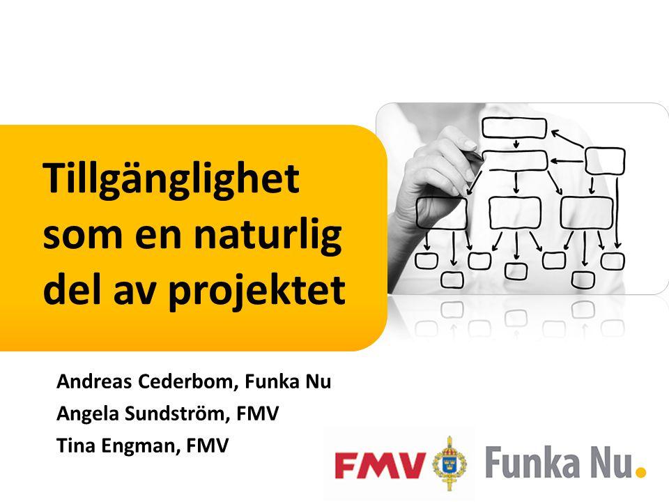 Tillgänglighet som en naturlig del av projektet Andreas Cederbom, Funka Nu Angela Sundström, FMV Tina Engman, FMV