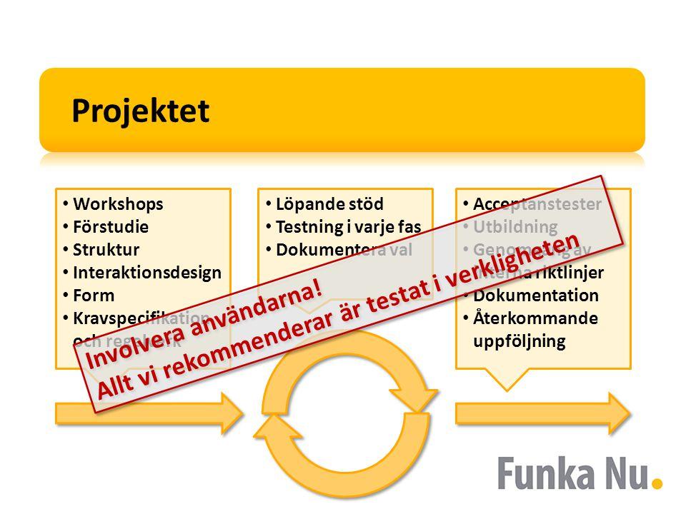 Workshops Förstudie Struktur Interaktionsdesign Form Kravspecifikation och regelverk Acceptanstester Utbildning Genomgång av interna riktlinjer Dokumentation Återkommande uppföljning Projektet Involvera användarna.