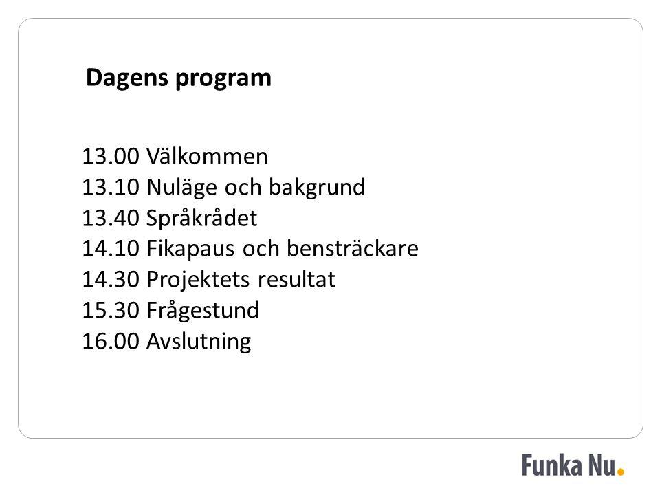 13.00 Välkommen 13.10 Nuläge och bakgrund 13.40 Språkrådet 14.10 Fikapaus och bensträckare 14.30 Projektets resultat 15.30 Frågestund 16.00 Avslutning Dagens program