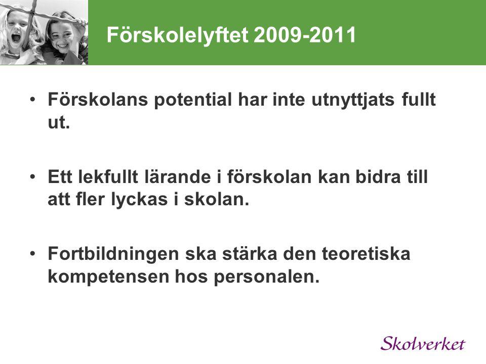 Förskolelyftet 2009-2011 Förskolans potential har inte utnyttjats fullt ut.