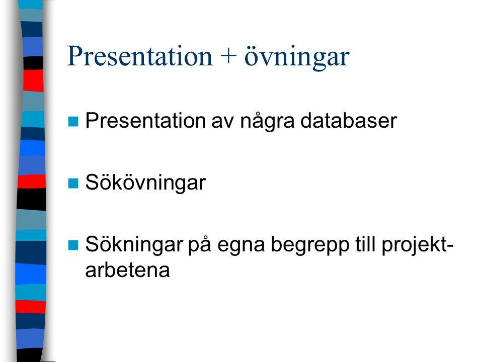 Presentation + övningar Presentation av några databaser Sökövningar Sökningar på egna begrepp till projekt- arbetena