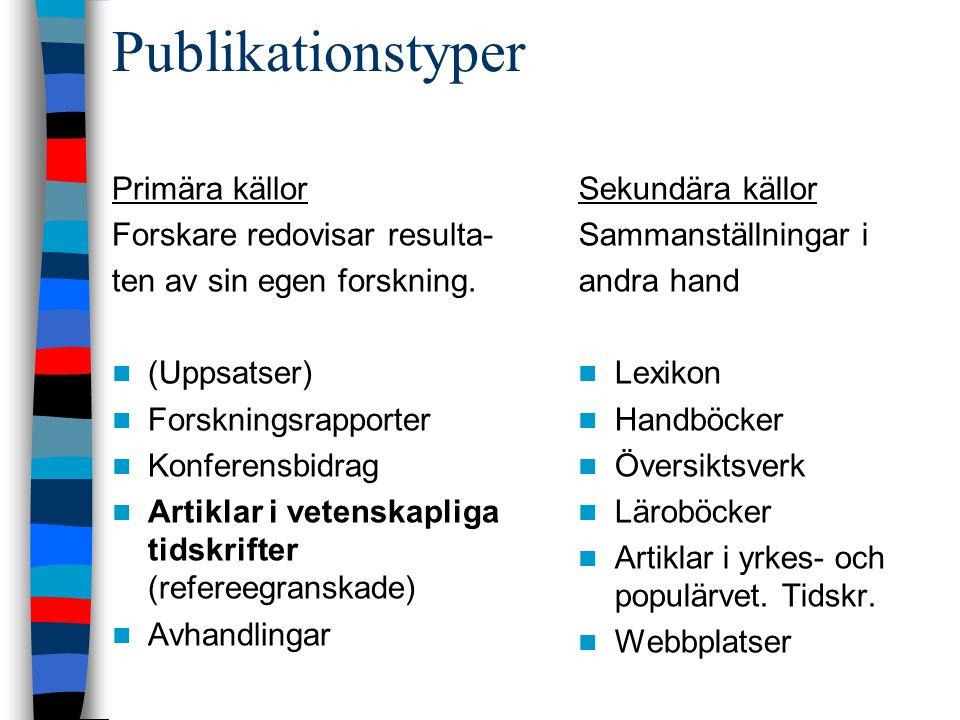 Publikationstyper Primära källor Forskare redovisar resulta- ten av sin egen forskning. (Uppsatser) Forskningsrapporter Konferensbidrag Artiklar i vet