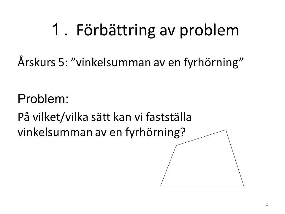 """1. Förbättring av problem Årskurs 5: """"vinkelsumman av en fyrhörning"""" Problem: På vilket/vilka sätt kan vi fastställa vinkelsumman av en fyrhörning? 2"""
