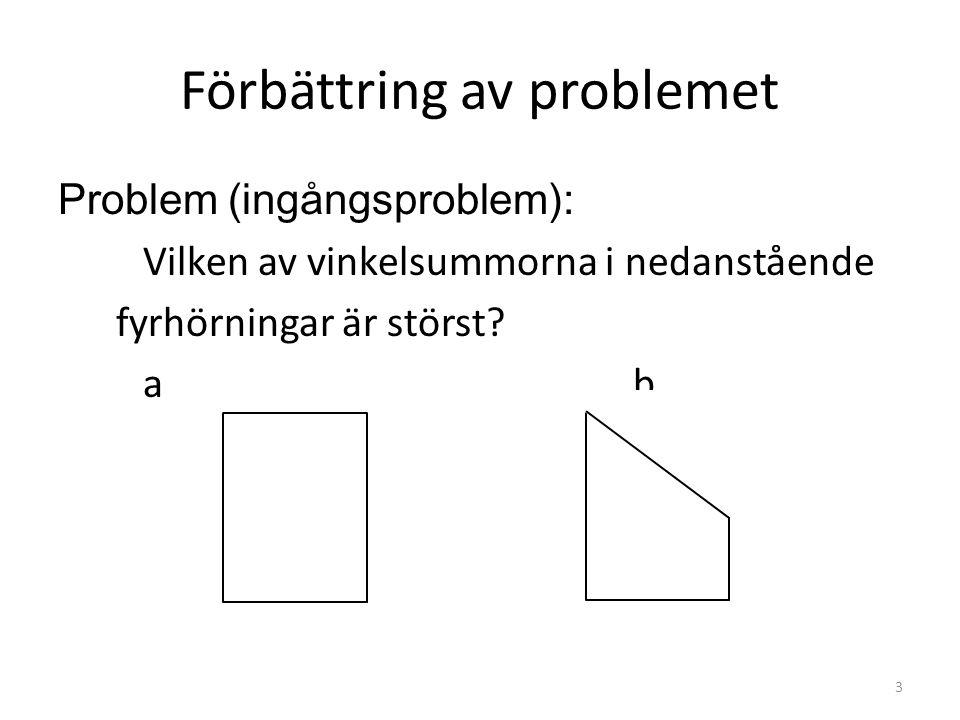 Förbättring av problemet Problem (ingångsproblem): Vilken av vinkelsummorna i nedanstående fyrhörningar är störst.