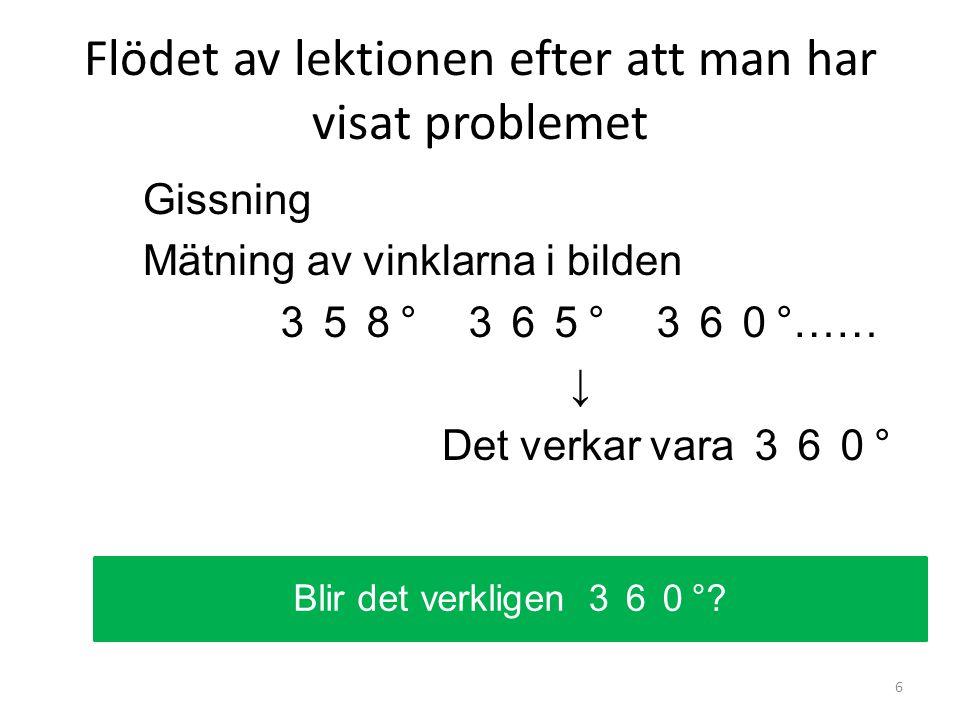 Flödet av lektionen efter att man har visat problemet Gissning Mätning av vinklarna i bilden 358 ° 365 ° 360 °…… ↓ Det verkar vara 360 ° 6 Blir det verkligen 360 °?
