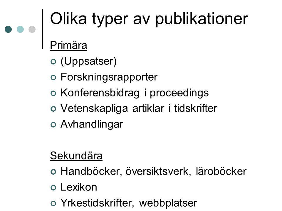 Olika typer av publikationer Primära (Uppsatser) Forskningsrapporter Konferensbidrag i proceedings Vetenskapliga artiklar i tidskrifter Avhandlingar S