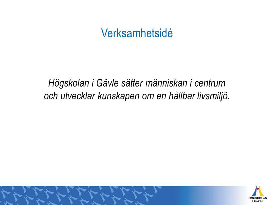 Verksamhetsidé Högskolan i Gävle sätter människan i centrum och utvecklar kunskapen om en hållbar livsmiljö.