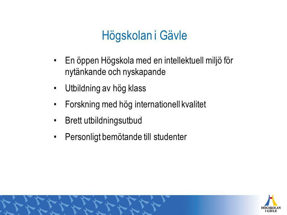 Högskolan i Gävle En öppen Högskola med en intellektuell miljö för nytänkande och nyskapande Utbildning av hög klass Forskning med hög internationell kvalitet Brett utbildningsutbud Personligt bemötande till studenter