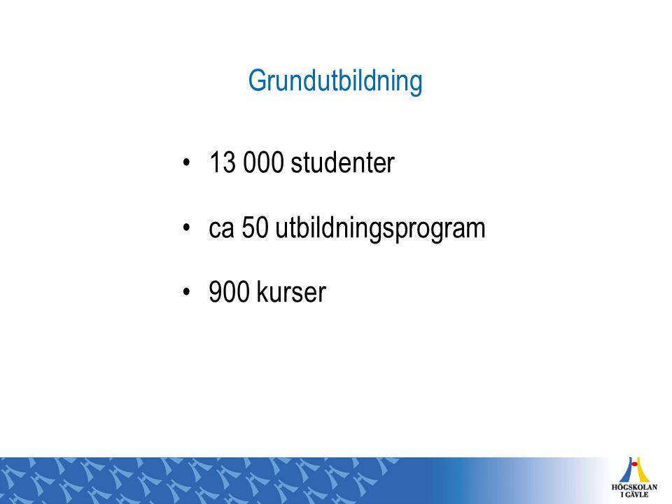 Grundutbildning 13 000 studenter ca 50 utbildningsprogram 900 kurser