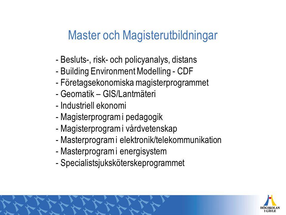 Master och Magisterutbildningar - Besluts-, risk- och policyanalys, distans - Building Environment Modelling - CDF - Företagsekonomiska magisterprogra
