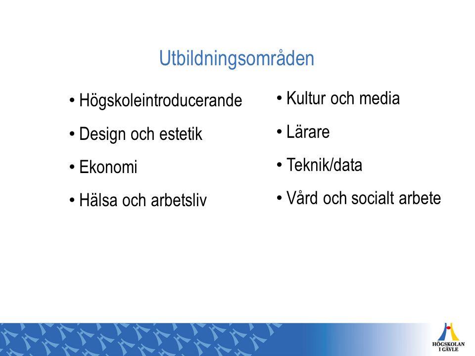 Utbildningsområden Högskoleintroducerande Design och estetik Ekonomi Hälsa och arbetsliv Kultur och media Lärare Teknik/data Vård och socialt arbete