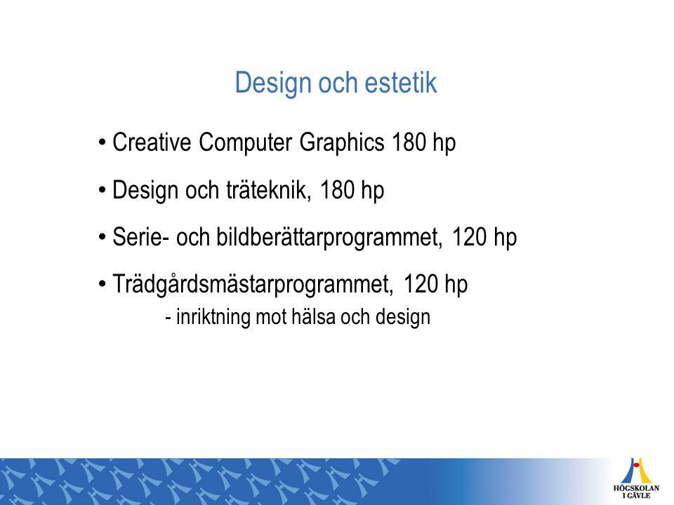 Design och estetik Creative Computer Graphics 180 hp Design och träteknik, 180 hp Serie- och bildberättarprogrammet, 120 hp Trädgårdsmästarprogrammet,