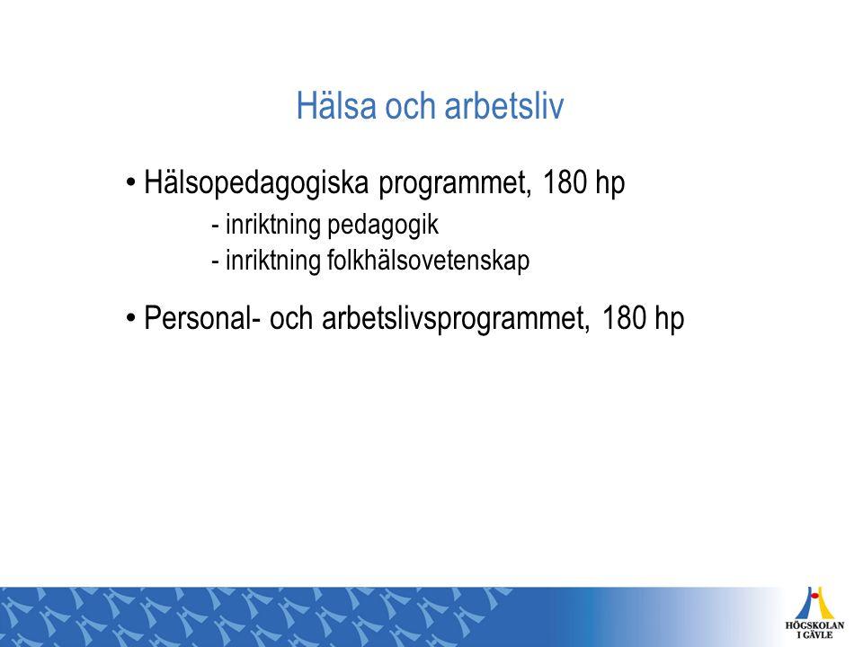 Hälsa och arbetsliv Hälsopedagogiska programmet, 180 hp - inriktning pedagogik - inriktning folkhälsovetenskap Personal- och arbetslivsprogrammet, 180