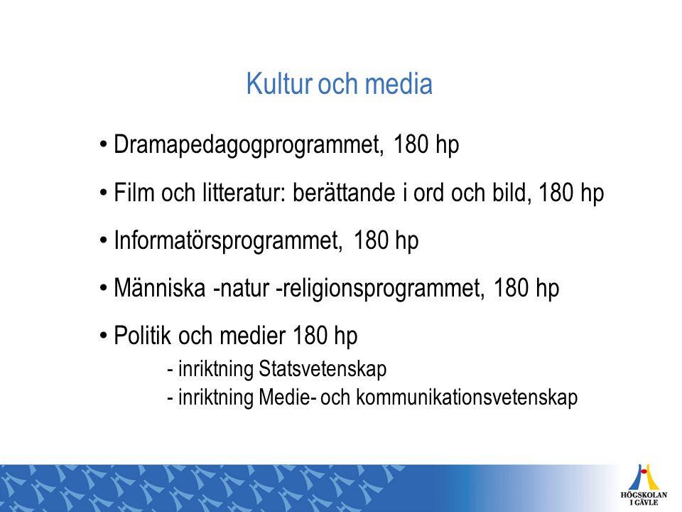 Kultur och media Dramapedagogprogrammet, 180 hp Film och litteratur: berättande i ord och bild, 180 hp Informatörsprogrammet, 180 hp Människa -natur -