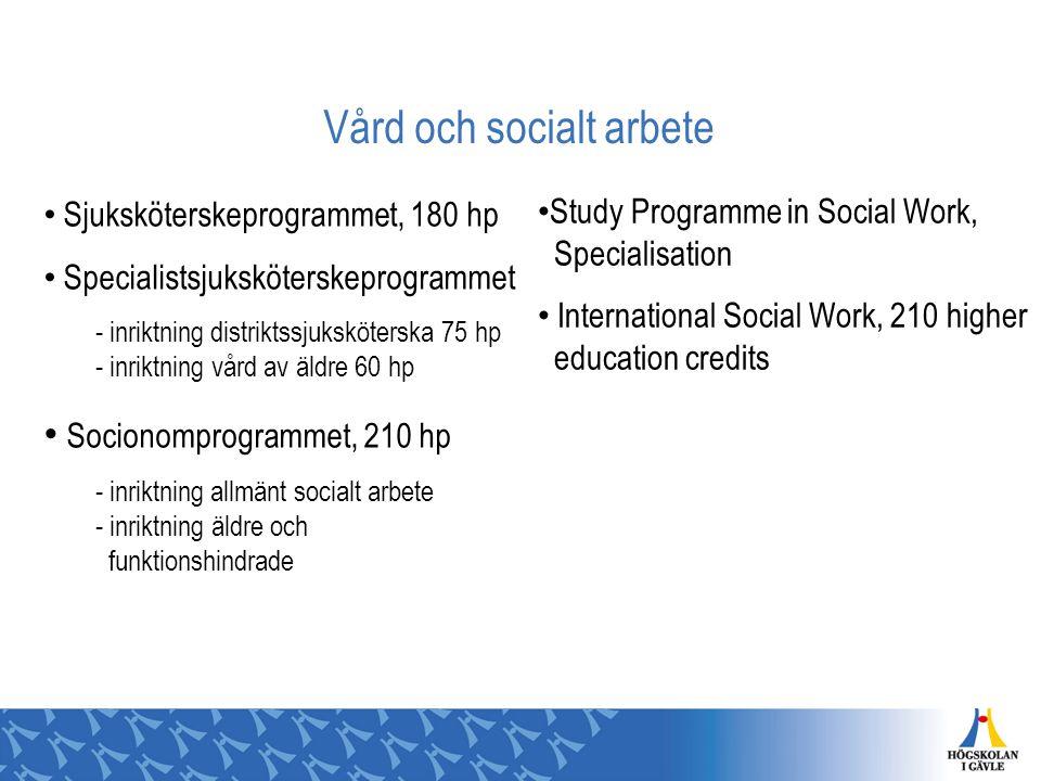 Vård och socialt arbete Sjuksköterskeprogrammet, 180 hp Specialistsjuksköterskeprogrammet - inriktning distriktssjuksköterska 75 hp - inriktning vård