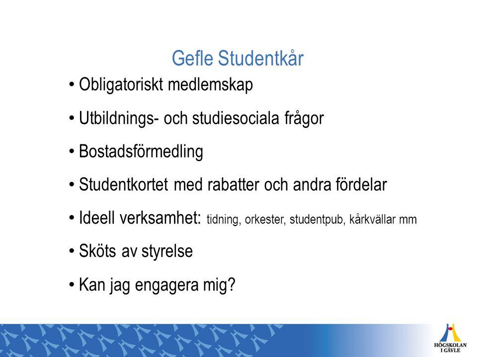 Gefle Studentkår Obligatoriskt medlemskap Utbildnings- och studiesociala frågor Bostadsförmedling Studentkortet med rabatter och andra fördelar Ideell