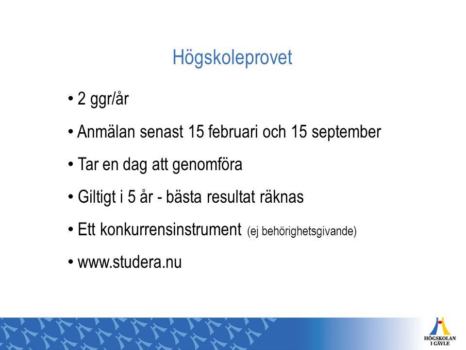 Högskoleprovet 2 ggr/år Anmälan senast 15 februari och 15 september Tar en dag att genomföra Giltigt i 5 år - bästa resultat räknas Ett konkurrensinst