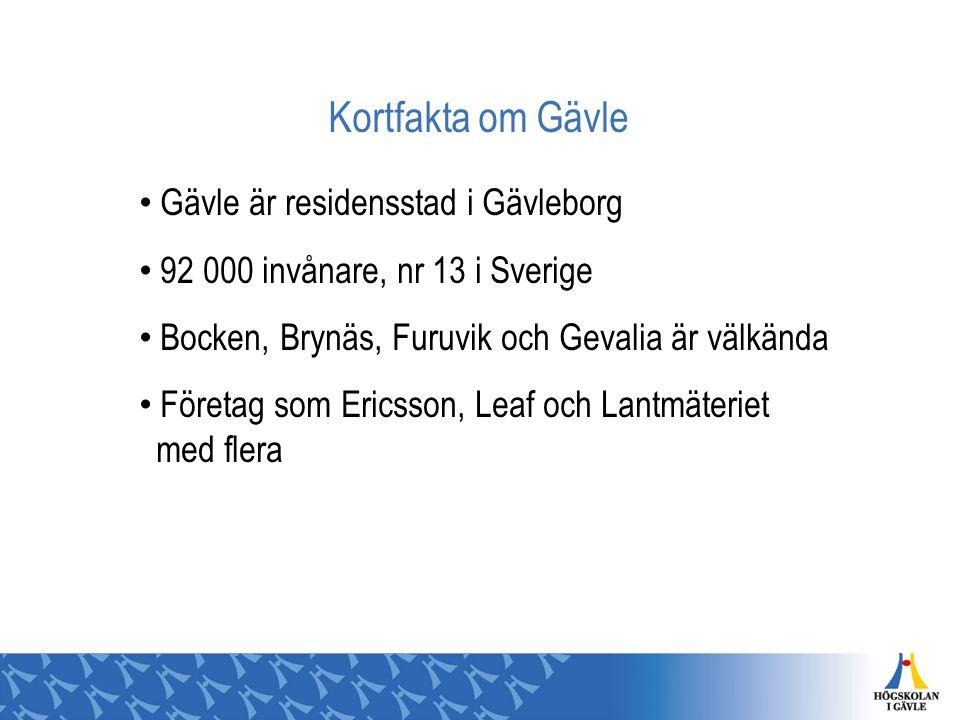 Kortfakta om Gävle Gävle är residensstad i Gävleborg 92 000 invånare, nr 13 i Sverige Bocken, Brynäs, Furuvik och Gevalia är välkända Företag som Eric