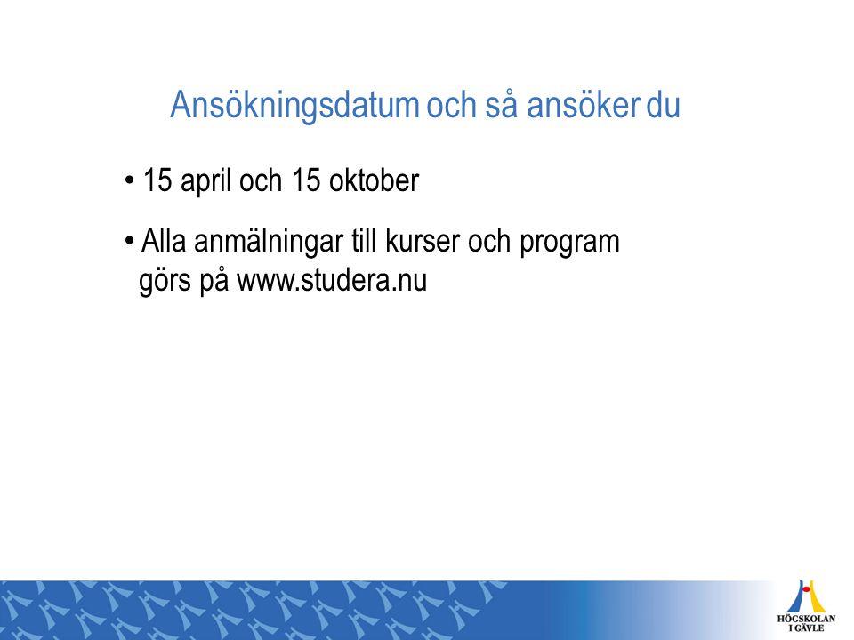 Ansökningsdatum och så ansöker du 15 april och 15 oktober Alla anmälningar till kurser och program görs på www.studera.nu
