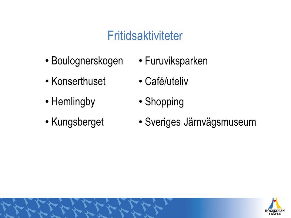 Fritidsaktiviteter Boulognerskogen Konserthuset Hemlingby Kungsberget Furuviksparken Café/uteliv Shopping Sveriges Järnvägsmuseum