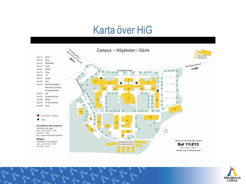 Högskolan i Gävle 13 000 studenter, varav 5 500 helårsstudenter Ca 38 % från Gävleborgs län (ht-08) Prisbelönt bibliotek Samlat campus ISO 14001 Miljöcertifierad Ca 40 utbildningsprogram Drygt 900 kurser Ca 15 utbildningar på avancerad nivå