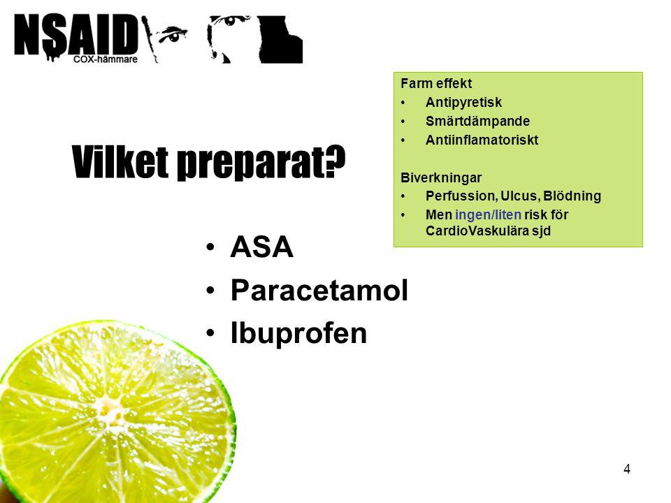 4 Vilket preparat? ASA Paracetamol Ibuprofen Farm effekt Antipyretisk Smärtdämpande Antiinflamatoriskt Biverkningar Perfussion, Ulcus, Blödning Men in