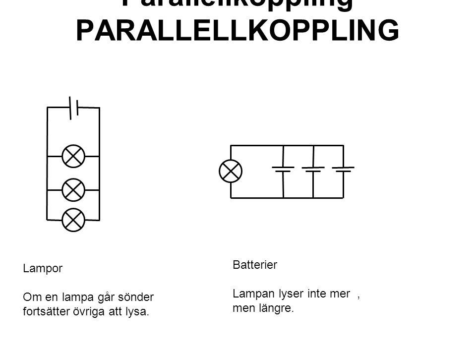Parallellkoppling PARALLELLKOPPLING Lampor Om en lampa går sönder fortsätter övriga att lysa. Batterier Lampan lyser inte mer, men längre.