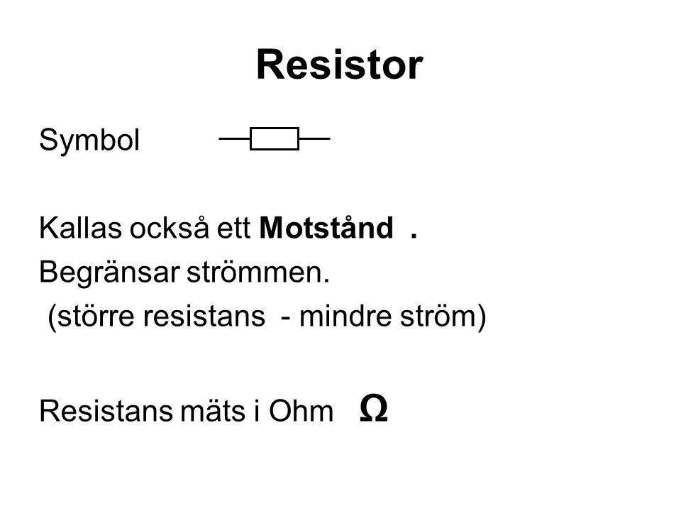 Resistor Symbol Kallas också ett Motstånd. Begränsar strömmen. (större resistans - mindre ström) Resistans mäts i Ohm Ω