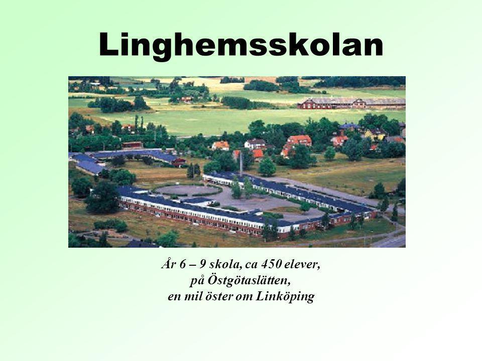 Linghemsskolan År 6 – 9 skola, ca 450 elever, på Östgötaslätten, en mil öster om Linköping