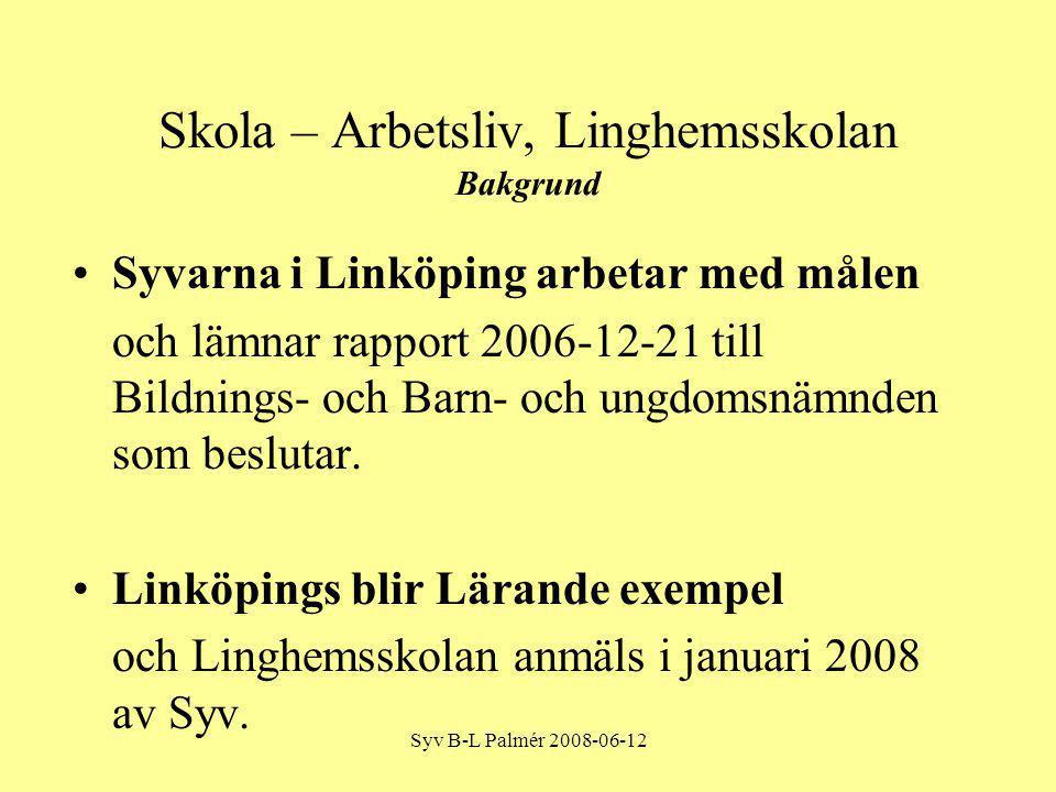 Syv B-L Palmér 2008-06-12 Skola – Arbetsliv, Linghemsskolan Bakgrund Syvarna i Linköping arbetar med målen och lämnar rapport 2006-12-21 till Bildnings- och Barn- och ungdomsnämnden som beslutar.