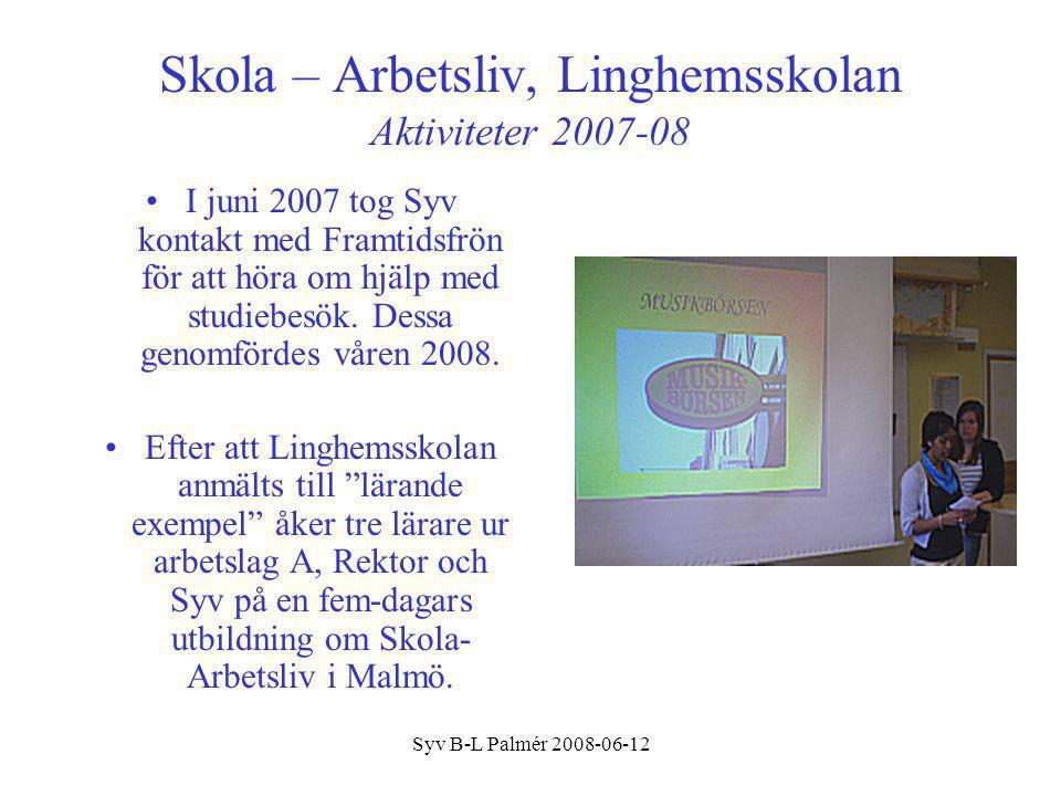 Syv B-L Palmér 2008-06-12 Skola – Arbetsliv, Linghemsskolan Mål/Planer 2008/09/10 Projektgrupp P rojektgruppen (tre lärare, rektor och syv) arbetade fram följande planer för Skola-Arbetslivskontakter till läsåret 2008/09 som ett pilotprojekt i lag A, ett av av skolans fyra arbetslag.