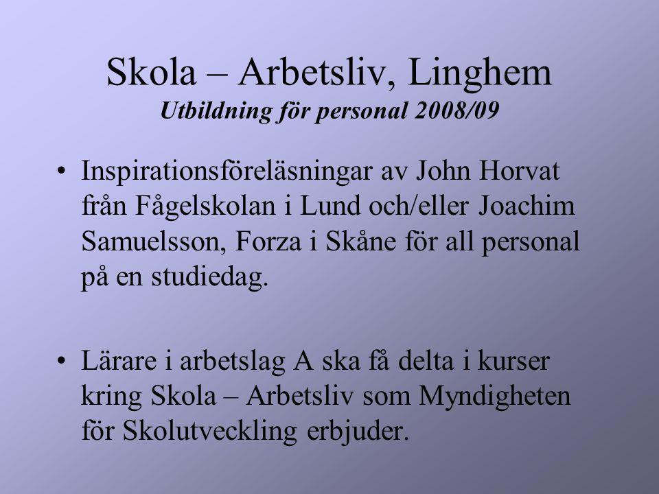 Skola – Arbetsliv, Linghem Utbildning för personal 2008/09 Inspirationsföreläsningar av John Horvat från Fågelskolan i Lund och/eller Joachim Samuelsson, Forza i Skåne för all personal på en studiedag.