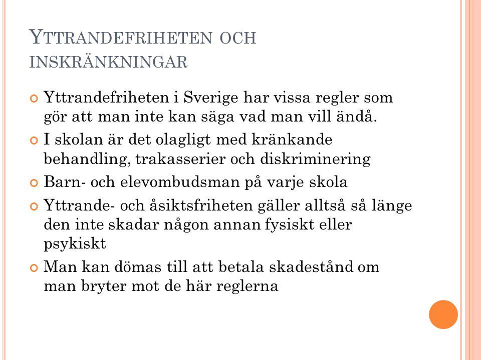 Y TTRANDEFRIHETEN OCH INSKRÄNKNINGAR Yttrandefriheten i Sverige har vissa regler som gör att man inte kan säga vad man vill ändå. I skolan är det olag