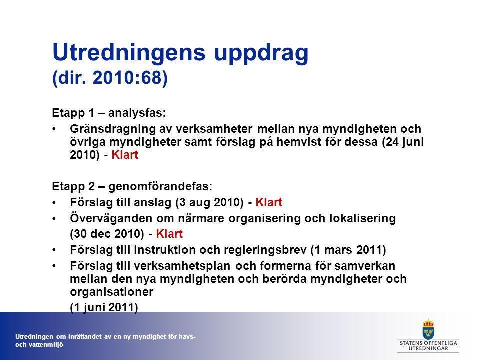 Utredningen om inrättandet av en ny myndighet för havs- och vattenmiljö Utredningens uppdrag (dir. 2010:68) Etapp 1 – analysfas: Gränsdragning av verk