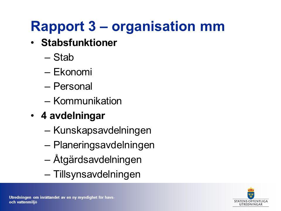 Utredningen om inrättandet av en ny myndighet för havs- och vattenmiljö Rapport 3 – organisation mm Stabsfunktioner –Stab –Ekonomi –Personal –Kommunik