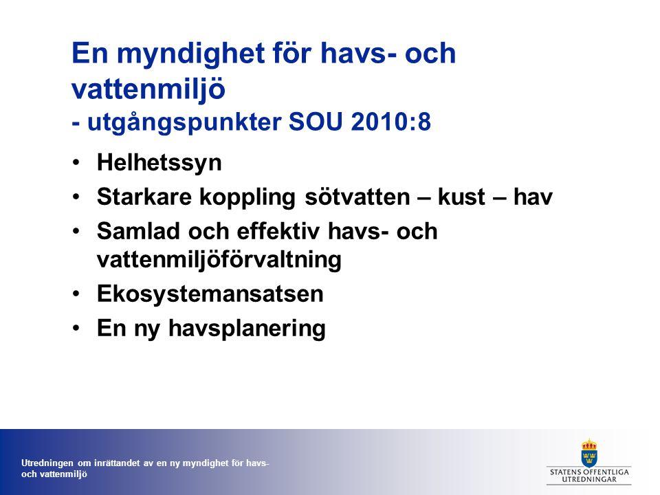 Utredningen om inrättandet av en ny myndighet för havs- och vattenmiljö En myndighet för havs- och vattenmiljö - utgångspunkter SOU 2010:8 Helhetssyn