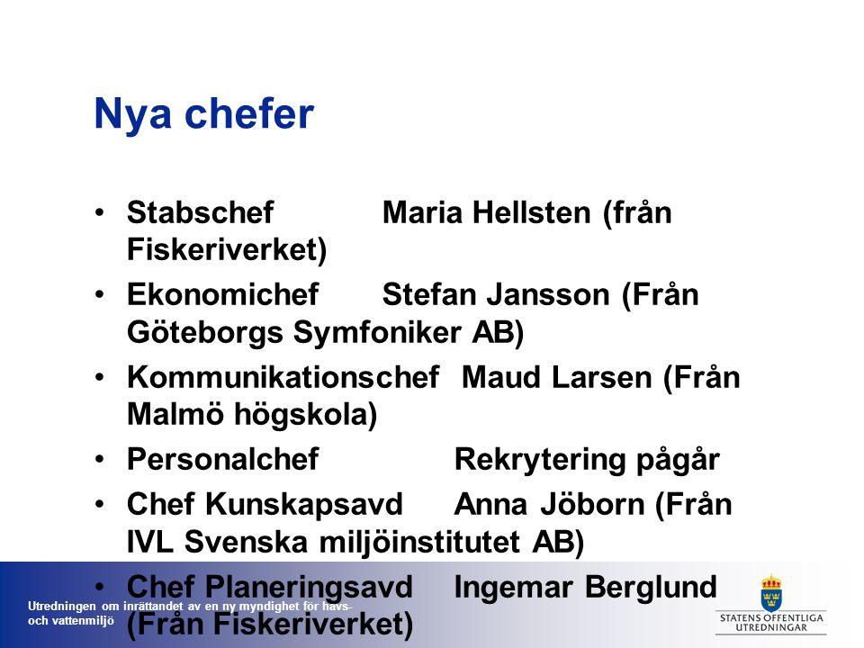 Utredningen om inrättandet av en ny myndighet för havs- och vattenmiljö Nya chefer StabschefMaria Hellsten (från Fiskeriverket) EkonomichefStefan Jans