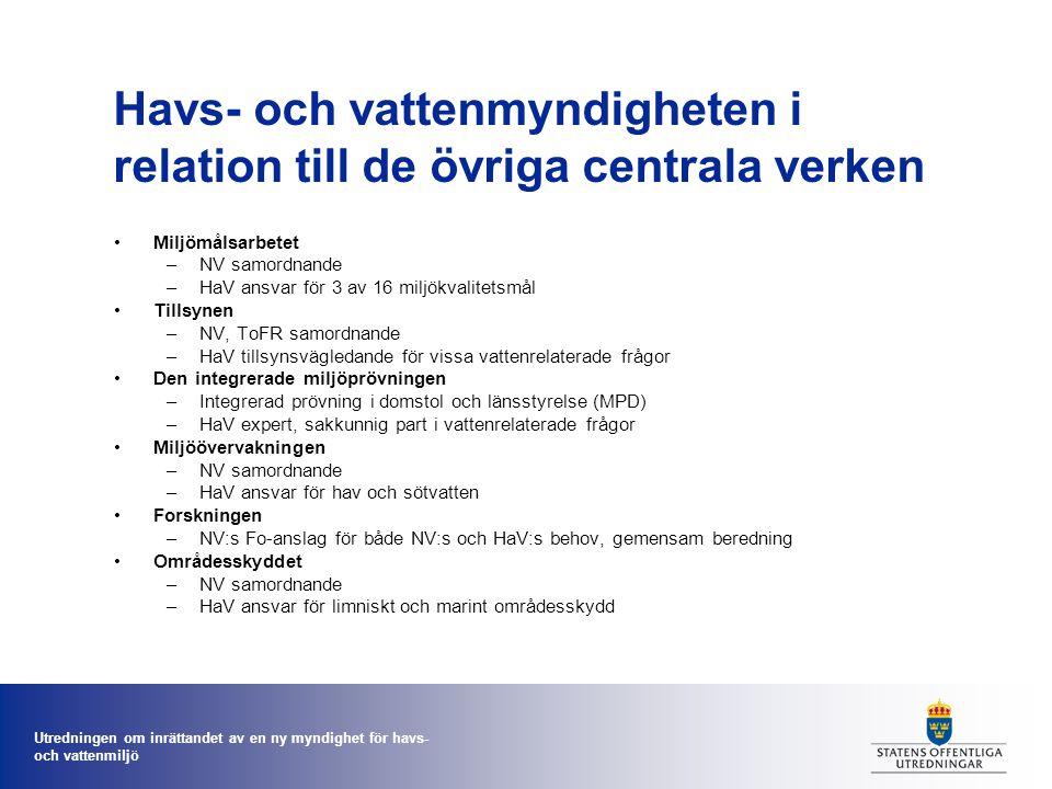 Utredningen om inrättandet av en ny myndighet för havs- och vattenmiljö Havs- och vattenmyndigheten i relation till de övriga centrala verken Miljömålsarbetet –NV samordnande –HaV ansvar för 3 av 16 miljökvalitetsmål Tillsynen –NV, ToFR samordnande –HaV tillsynsvägledande för vissa vattenrelaterade frågor Den integrerade miljöprövningen –Integrerad prövning i domstol och länsstyrelse (MPD) –HaV expert, sakkunnig part i vattenrelaterade frågor Miljöövervakningen –NV samordnande –HaV ansvar för hav och sötvatten Forskningen –NV:s Fo-anslag för både NV:s och HaV:s behov, gemensam beredning Områdesskyddet –NV samordnande –HaV ansvar för limniskt och marint områdesskydd