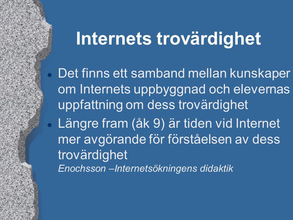 Internets trovärdighet l Det finns ett samband mellan kunskaper om Internets uppbyggnad och elevernas uppfattning om dess trovärdighet l Längre fram (