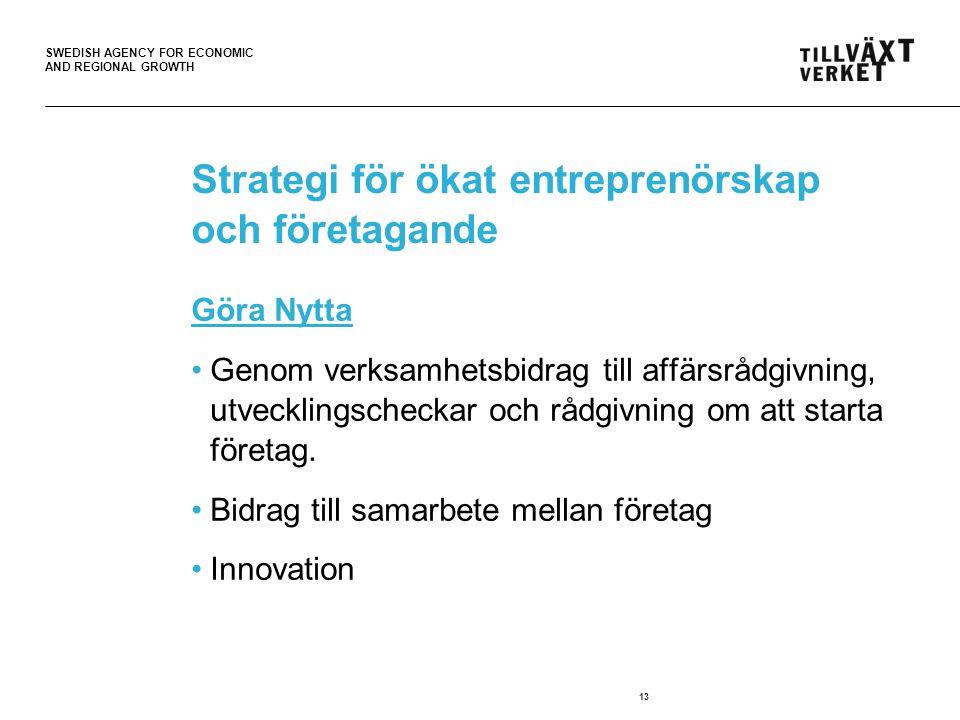SWEDISH AGENCY FOR ECONOMIC AND REGIONAL GROWTH Strategi för ökat entreprenörskap och företagande Göra Nytta Genom verksamhetsbidrag till affärsrådgiv