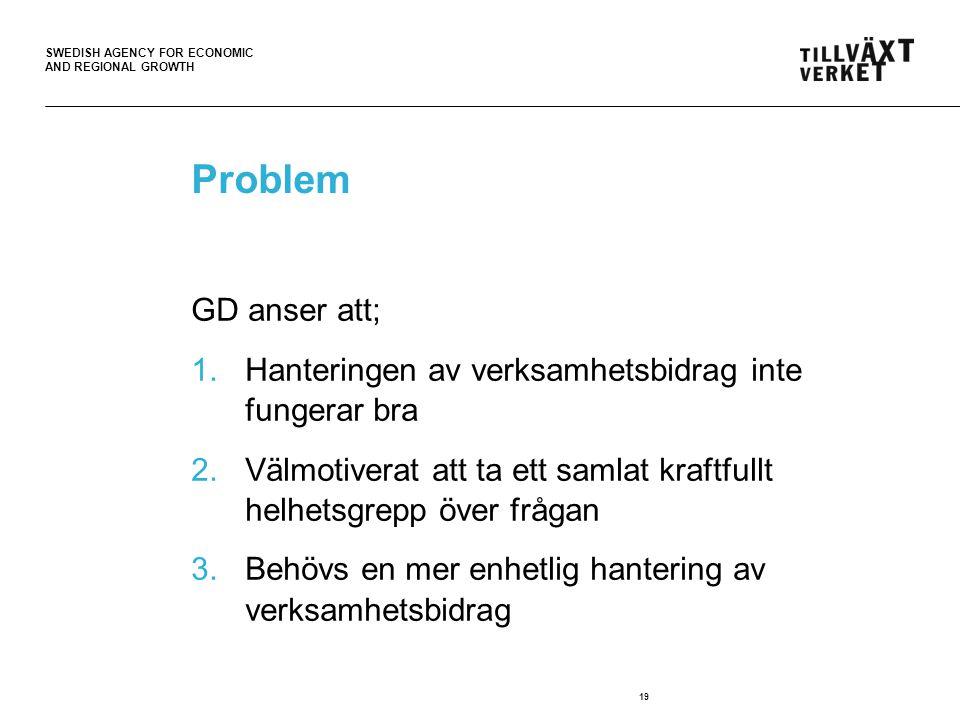 SWEDISH AGENCY FOR ECONOMIC AND REGIONAL GROWTH Problem GD anser att; 1.Hanteringen av verksamhetsbidrag inte fungerar bra 2.Välmotiverat att ta ett samlat kraftfullt helhetsgrepp över frågan 3.Behövs en mer enhetlig hantering av verksamhetsbidrag 19