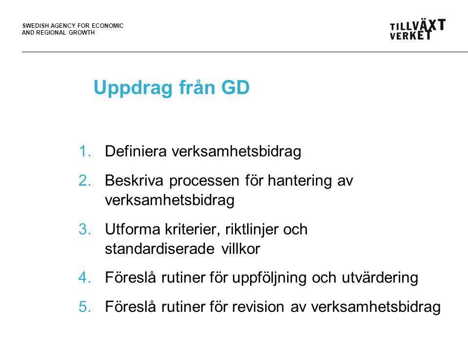 SWEDISH AGENCY FOR ECONOMIC AND REGIONAL GROWTH Uppdrag från GD 1.Definiera verksamhetsbidrag 2.Beskriva processen för hantering av verksamhetsbidrag 3.Utforma kriterier, riktlinjer och standardiserade villkor 4.Föreslå rutiner för uppföljning och utvärdering 5.Föreslå rutiner för revision av verksamhetsbidrag