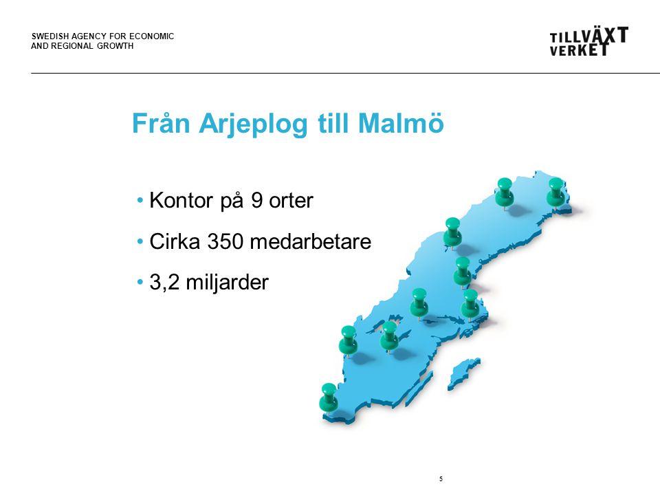 SWEDISH AGENCY FOR ECONOMIC AND REGIONAL GROWTH Från Arjeplog till Malmö 5 Kontor på 9 orter Cirka 350 medarbetare 3,2 miljarder