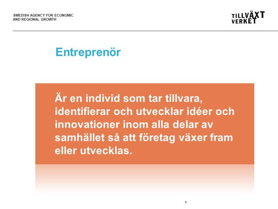 SWEDISH AGENCY FOR ECONOMIC AND REGIONAL GROWTH Entreprenör 9 Är en individ som tar tillvara, identifierar och utvecklar idéer och innovationer inom a