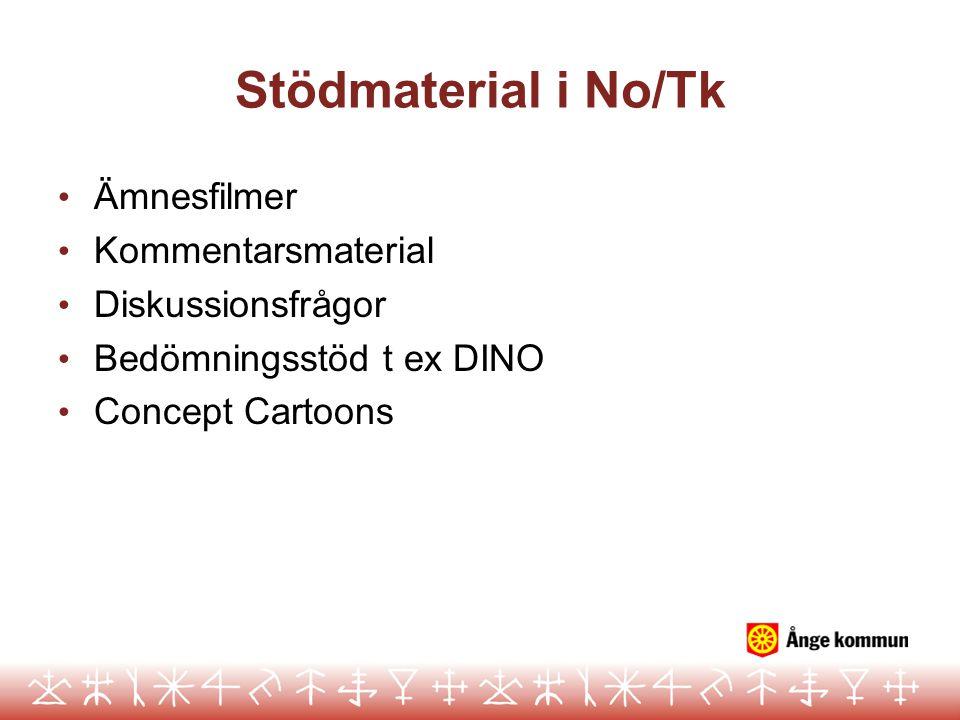Stödmaterial i No/Tk Ämnesfilmer Kommentarsmaterial Diskussionsfrågor Bedömningsstöd t ex DINO Concept Cartoons