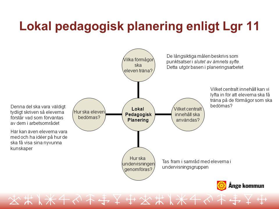 Checklista över LPP Checklista över lokal pedagogisk planering