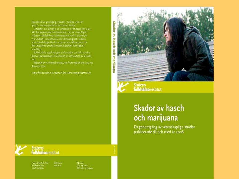 Skador av hasch och marijuana En genomgång av vetenskapliga studier publicerade till och med år 2008. Utgiven av Statens folkhälsoinstitut (2009) Författare Jan Ramström Kan beställas som Pdf – fil Adress: www.fhi.se/publikationerwww.fhi.se/publikationer Tidigare utgåvor: 1997 (Socialstyrelsen) 2004 (Fhi)
